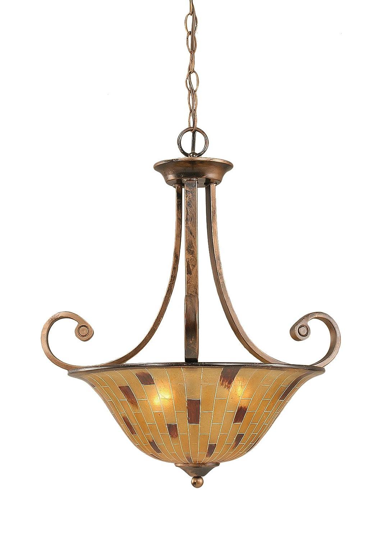 Toltec Lighting 254-BRZ-58619 Curl Three-Bulb Uplight Pendant Bronze Finish with Tiger Glass 16-Inch