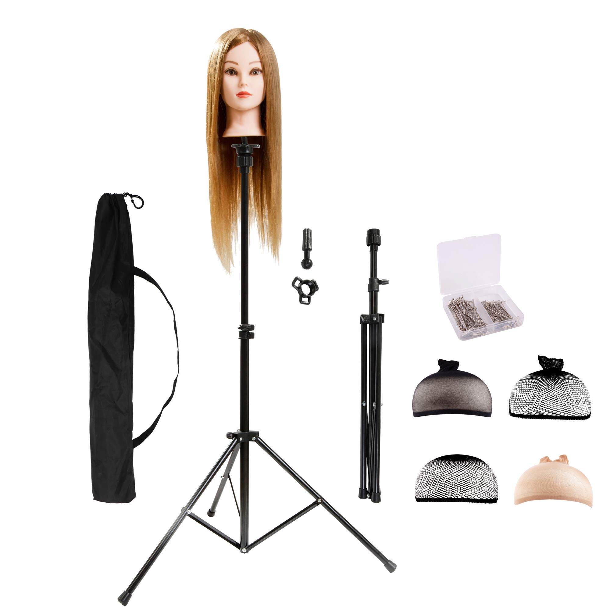 HYOUJIN Wig Stand Metal Adjustable Cosmetology Hairdressing Training Mannequin Head Tripod Stand for Hair Extensions Canvas Block Wig Head by HYOUJIN