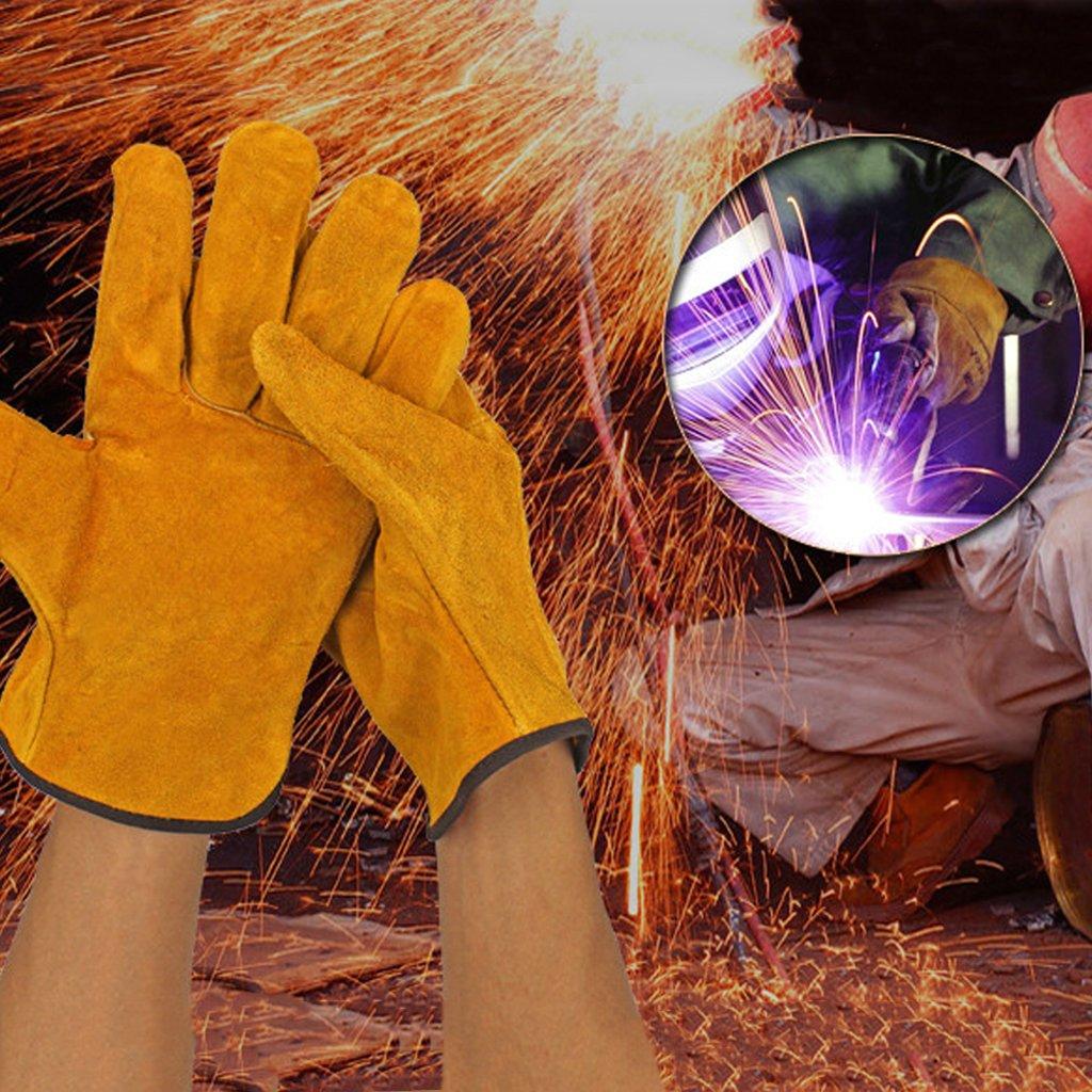 P-RULER 1Pair Cowhide Safety Protective Gloves Welding Welder Work Repair Wear-Resistant