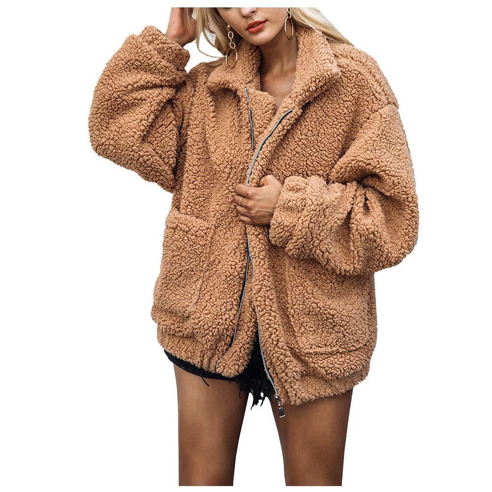 59a1921f9d6 HAHASOLE Women Faux Shearling Coat Oversized Zip Open Front Long Sleeve  Warm Winter Fuzzy Fleece Teddy Bear Jacket Pockets (Khaki