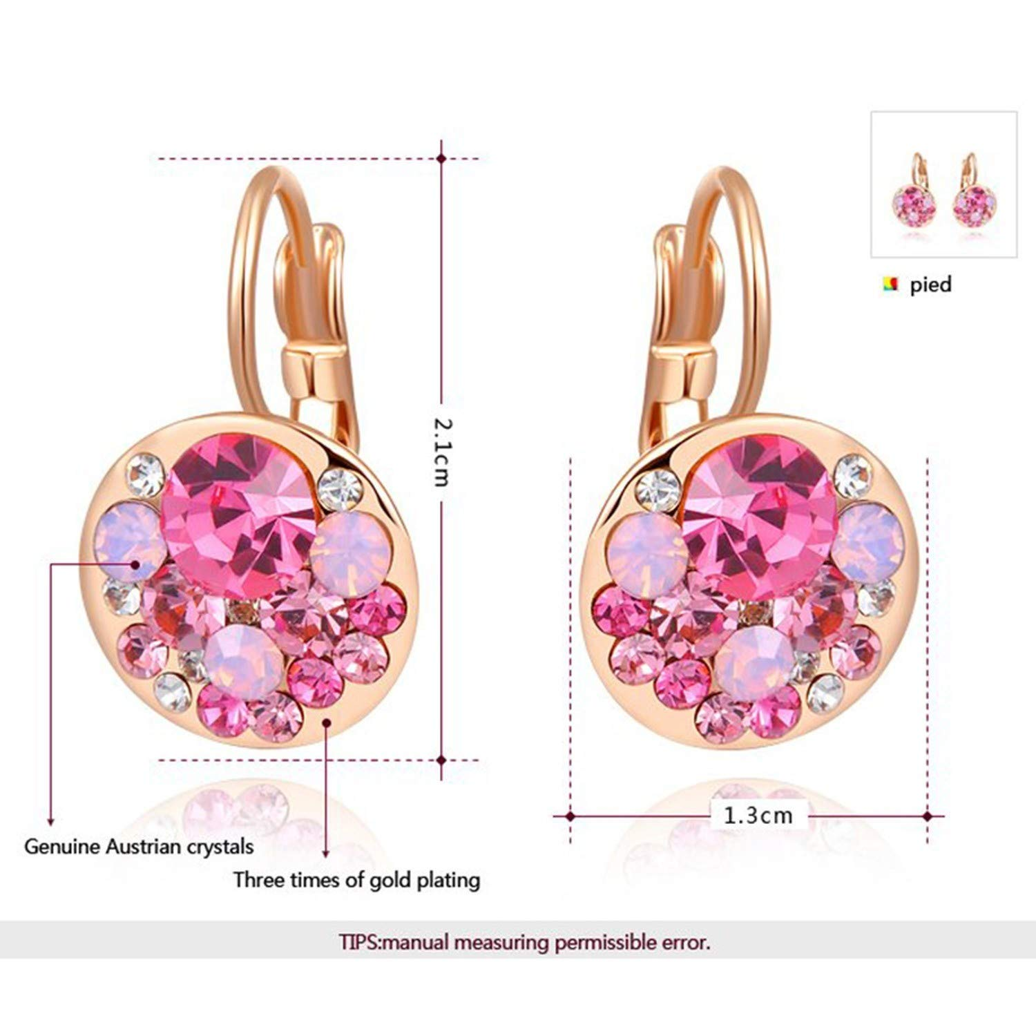 spyman 2019 Gifts 2019 New 4 Colors Round Stone AAA Zircon Flower Stud Earrings for Women Charm Crystal Wedding Earring Jewelry G7 Platinum Plated Blue