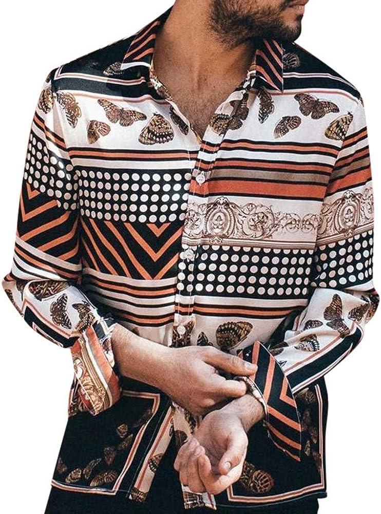 CAOQAO Camisa Hombre Hawaiana Verano Manga Larga Polka Dot Rayas Estampado Vintage Moda Casual: Amazon.es: Ropa y accesorios