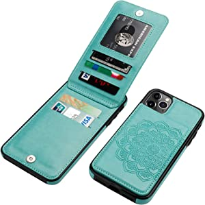 Vaburs iPhone 11 Case with Wallet Card Holder,Embossed Mandala Pattern Flower PU Leather 4 Card Slots Kickstand Shockproof Protective Flip Cover for iPhone 11 6.1 Inch(Green)