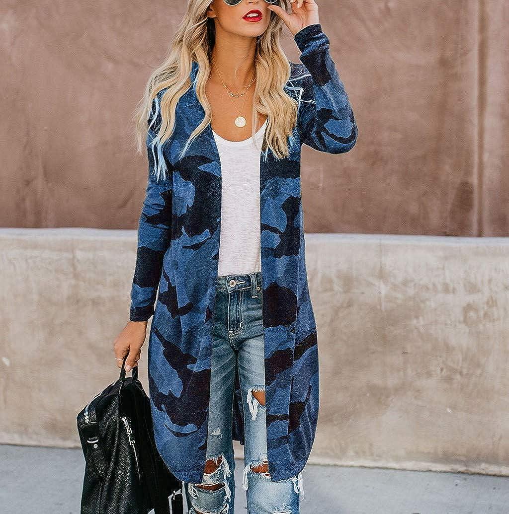 Nevera Fashion Long Sleeves Leisure Camouflage Print Draped Kimono Asymmetry Long Duster Coat Cardigan Coat for Womens
