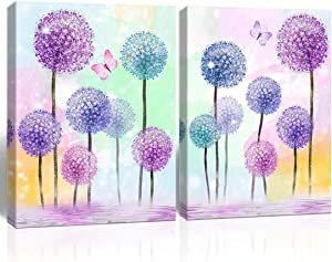 Purple Verbena Art Colorful Flowers Butterfly Picture Purple Blue Pink Dandelion Abstract Painting Canvas Print Modern Wall Art for Home Living Room Bathroom Bedroom Wall Décor Framed 2PCS 12x16