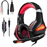 Samoleus Gaming Auriculares con Microfono, Cascos Gaming PS4 PC Xbox One, Cascos Gamer, Headset Cascos Jack 3.5mm, Luz LEDcon Switch, PC, Laptop,Playstation 4 (Upgraded Red)