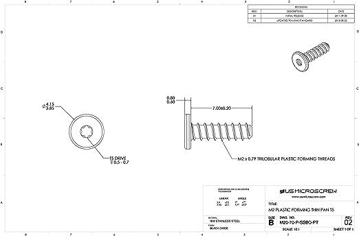 M2 X 4mm Plastic Thread Forming Screw Zinc Plated Steel Pan Head 6-Lobe Drive M20-40-P-Z-PT 100 Pcs