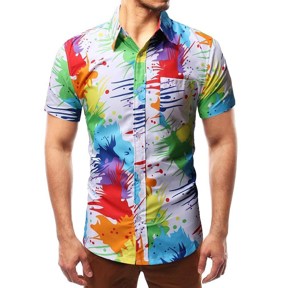 Beeatree Men Fashion Floral Colortone Bechwear Short Sleeve Shirts
