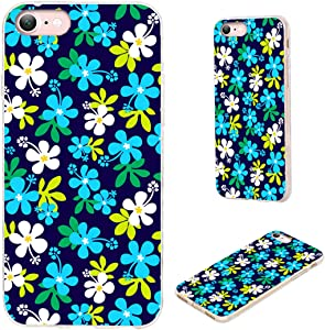 iPhone 8 Case,iPhone 7 Case,iPhone SE 2020 Case,VoMotec Shockproof Slim Flexible Soft TPU Protective Skin Cover Case for Apple iPhone 7/8/SE 2020 (4.7 inch),White Blue Hibiscus Floral