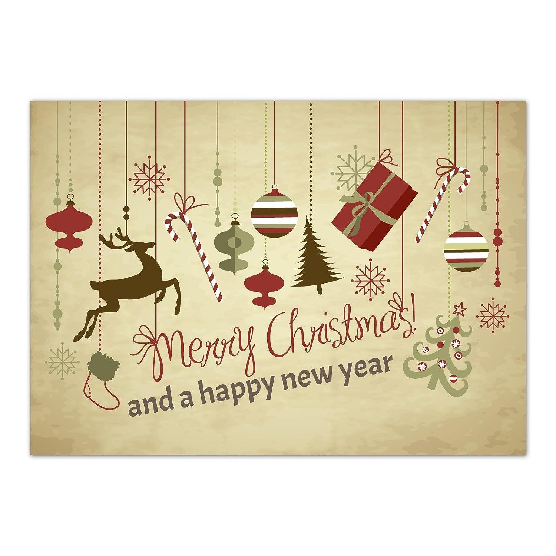 15 x Weihnachtskarten (Weihnachtliche Anhänger, Merry Christmas) 15 x Grußkarten im Postkarten Format mit Umschlag/Weihnachten