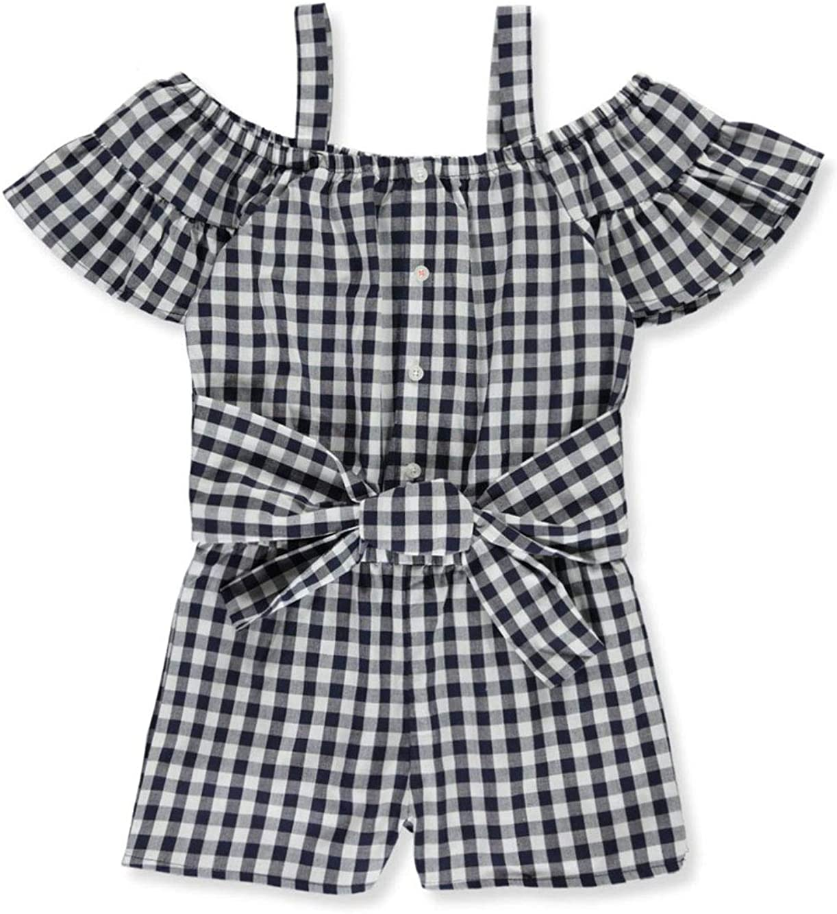 French Toast Girls Plaid Cold Shoulder Romper