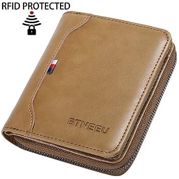 Geldbörse Herren Leder RFID Schutz BTNEEU Kleine Geldbeutel Männer  Reißverschluss und Münzfach, Brieftasche Herren Klein a826b1df4a