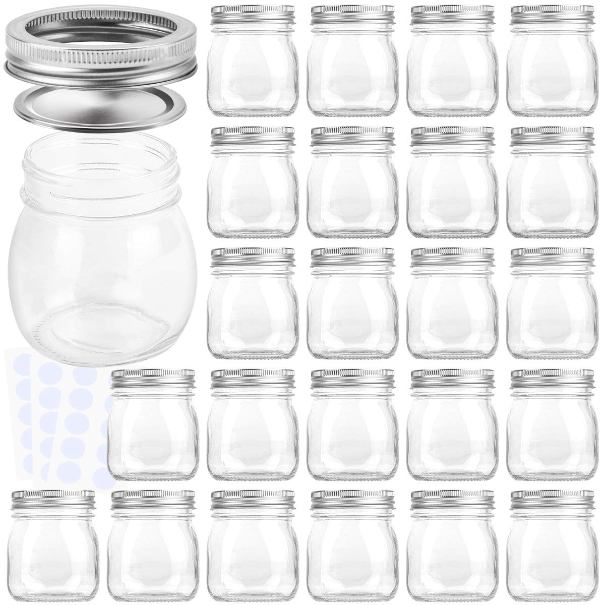KAMOTA Mason Jars 10OZ With Regular Lids and Bands, Ideal for Jam, Honey, Wedding Favors, Shower Favors, Baby Foods, DIY Magnetic Spice Jars, 24 PACK, 30 Whiteboard Labels Included