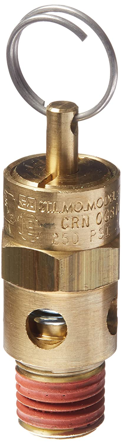 Control Devices ST25-1A250 ST Series Brass Soft Seat ASME Safety Valve, 250 psi Set Pressure, 1/4 Male NPT