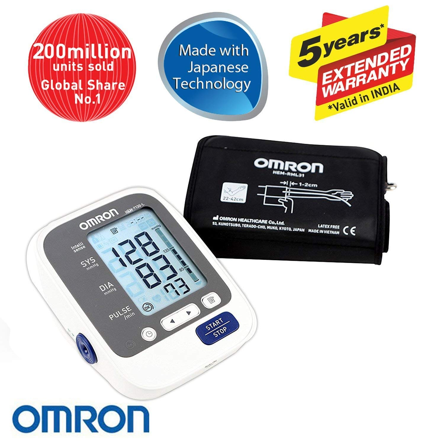 Omron Hem 7130 L Blood Pressure Monitor With Large Cuff Mc 246 Termometer Digital Thermometer Health Care Combo Pack Personal