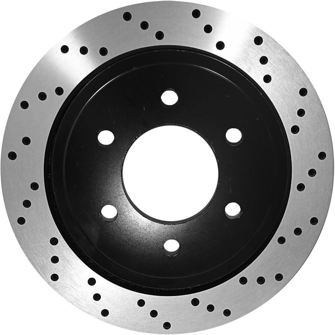 Duraplus Rear Premium Coated Drilled /& Slotted Brake Rotors Ceramic Brake Pads