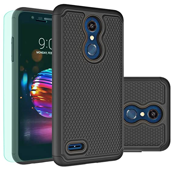 LG K30 Case,LG K10 2018 Case with HD Screen Protector Huness Durable Armor  and Resilient Shock Absorption Case Cover for LG K10 2018,LG K30 Phone