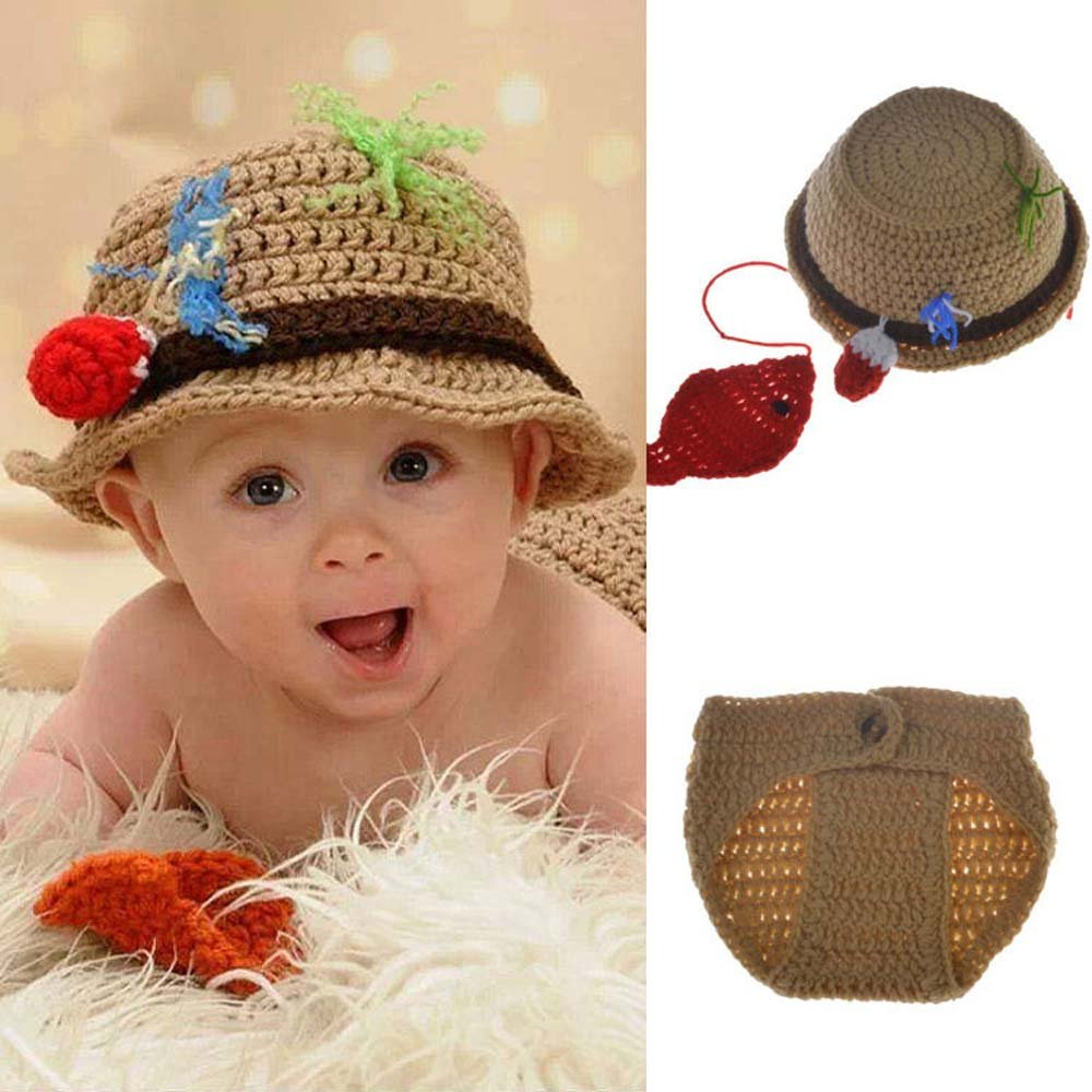 Amazon Com Osye Baby Crochet Knitted Outfit Fisherman Hat Costume Set Photography Photo Props Brown Baby