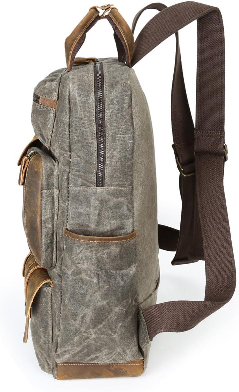 Color : Bronze, Size : L Lydianzishangwu Mens Shoulder Bag Oil Wax Canvas Bag Travel Retro Canvas Bag Large Outdoor Mens Bag