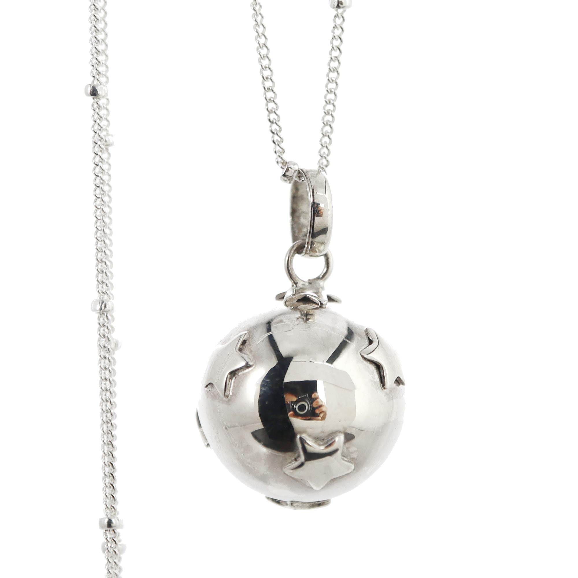 """16mm Little Stars Chime Sound Harmony Ball Bali Sterling Silver Pendant Necklace 30"""" Chain LS68"""