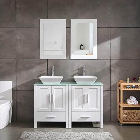 Amazon Com 48 Inch Double Sink Bathroom Vanity Cabinet Tempered Glass Counter Tops White Kitchen Dining