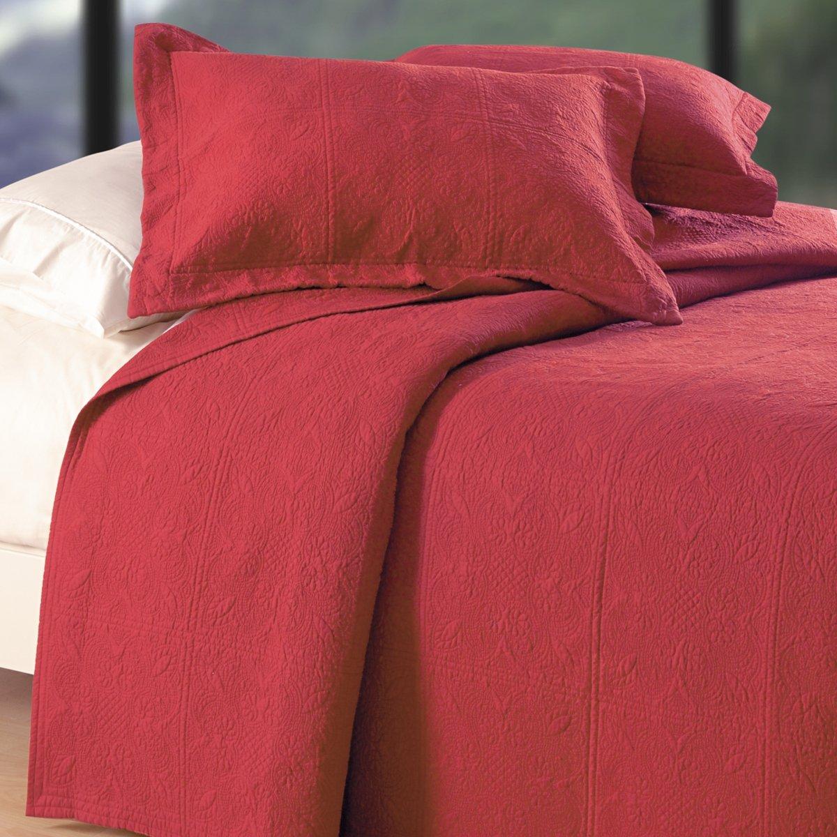 C&F Home Matelasse Cotton Quilt, Euro Sham 27x27, Brick Red