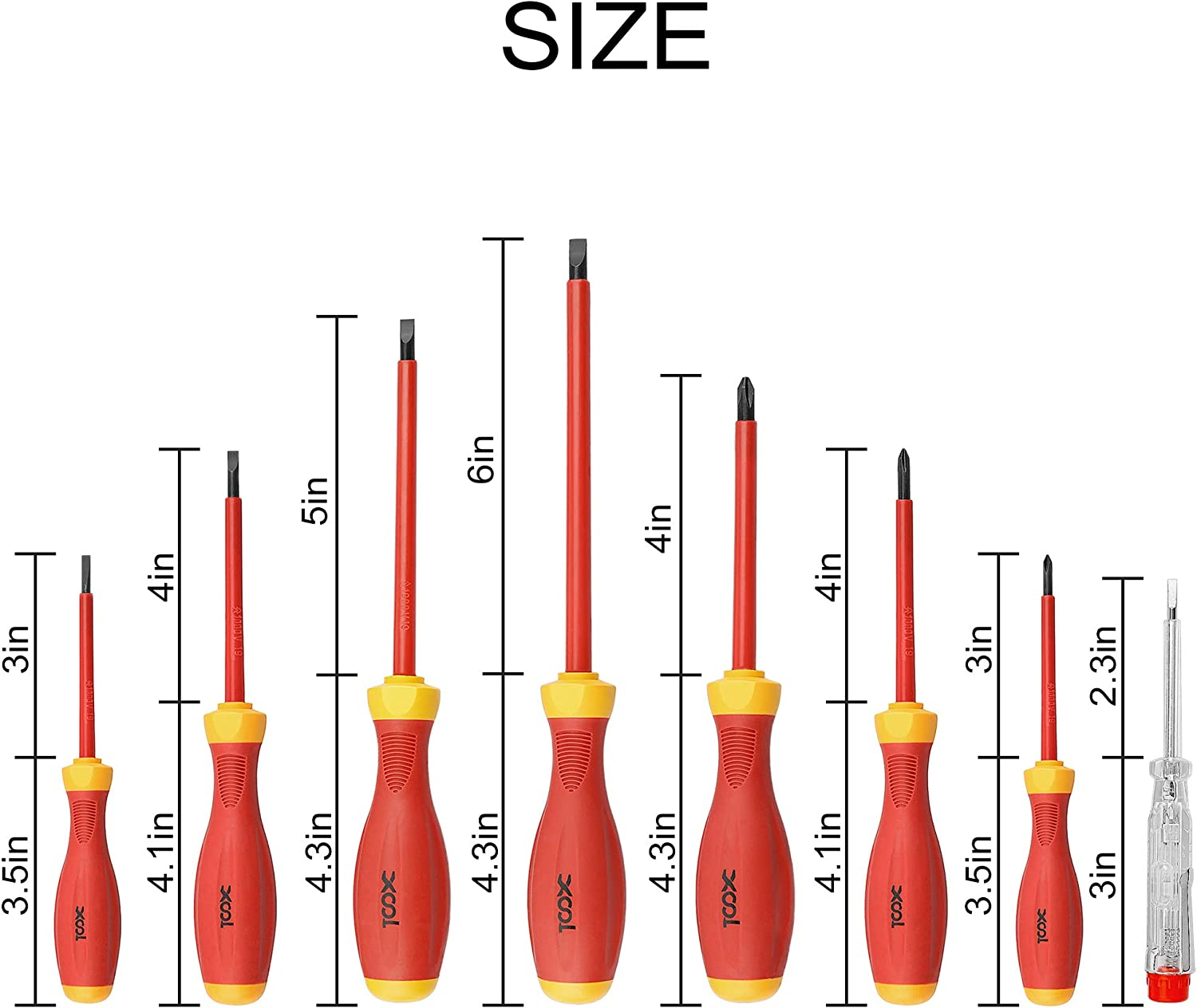 XOOL 1000V Insulated Electrician Screwdrivers Set with Magnetic Tips, Slotted and Phillips Bits Non-Slip Grip, 8 Piece 81Xex3wJDxL