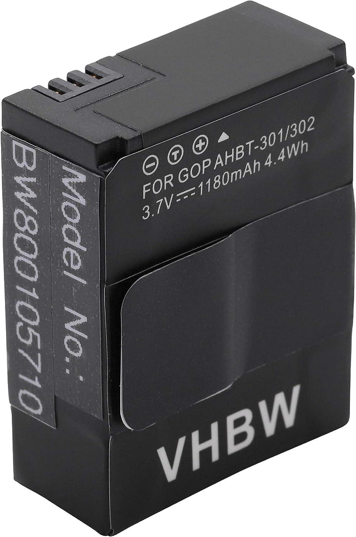 301 Black Edition BATTERIA FOTOCAMERA 1180mah per GoPro HD HERO 3 CHDHX