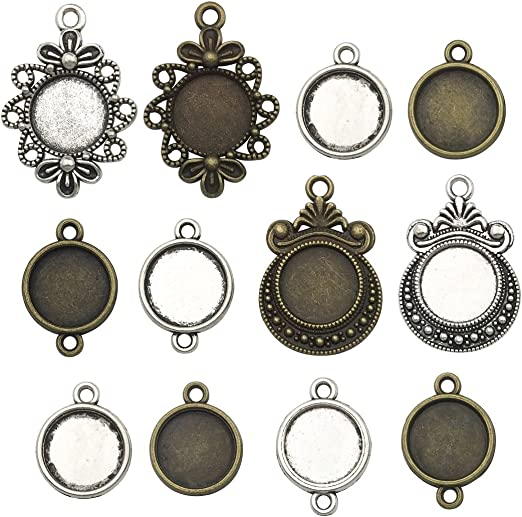 Silver tone 12mm tray cabochon pendant or connector tray setting 8pcs you pick