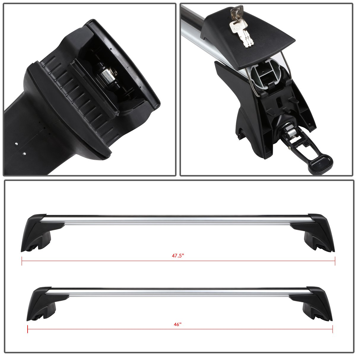 for 09-15 BMW X1 DNA MOTORING PT-ZTL-8044 Pair OE Roof Rail Cross Bar with Lock Key