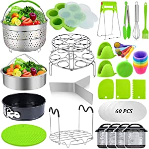 Sugaroom 101 PCS Pressure Cooker Accessories Set Compatible with Instant Pot Accessories 6 qt 8 quart - 2 Steamer Baskets, Springform Pan, Egg Rack, Egg Bites Mold, Steamer Rack and More