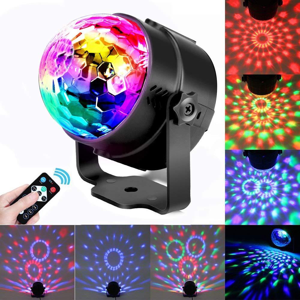 Discokugel, QITAO LED Partylich Disco Lichteffekte mit Fernbedienung Lichter,3W RGB Sprachaktiviertes Kristall Magic Ball Bü hnenlicht Discokugel fü r Kinder Party Karaoke Club Lichteffekte Weihnach Shenzhen QITAO Technology Co. Ltd.