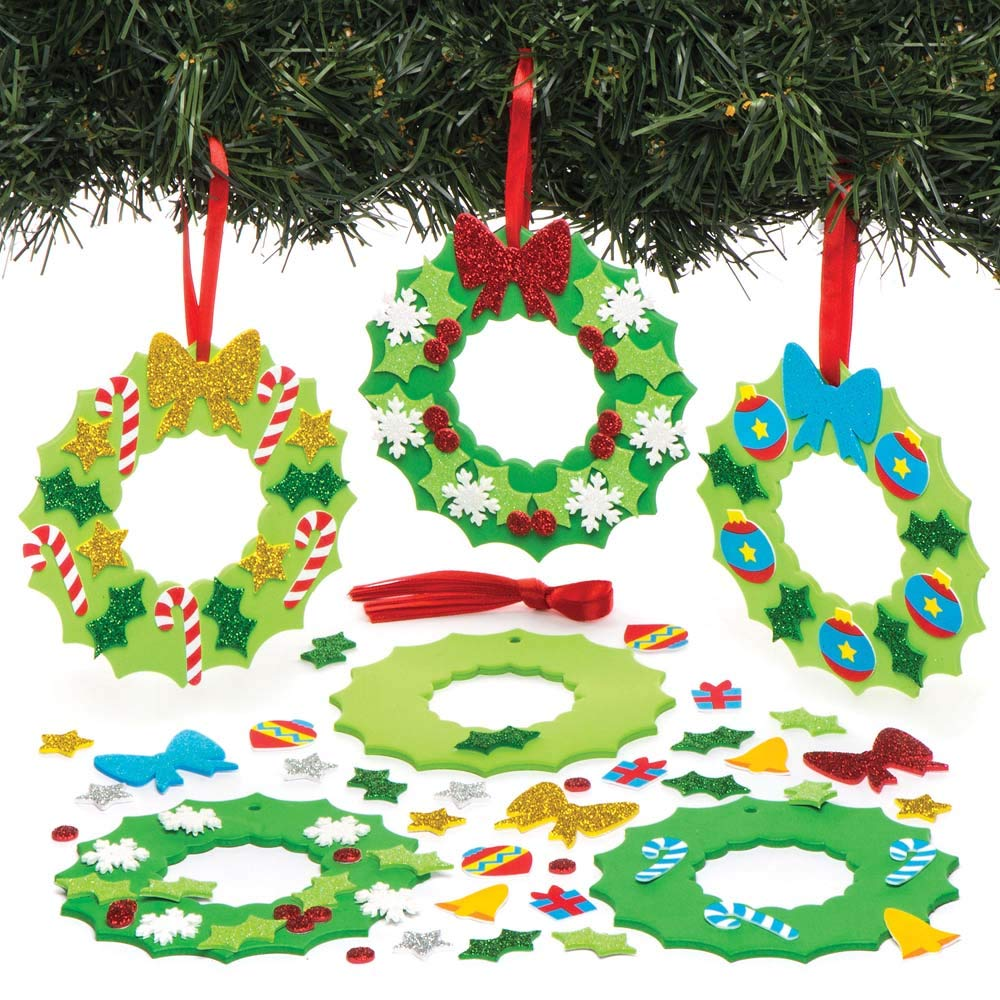 Baker Ross Kits de décorations couronnes de Noël à Assortir (Lot de6), Loisirs créatifs et décorations de Noël pour Enfants