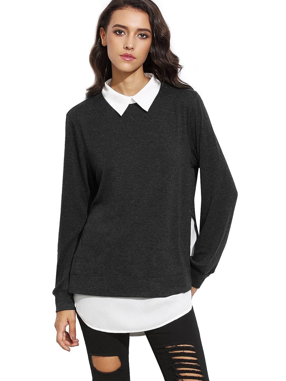 ROMWE Women's Classic Collar Long Sleeve Curved Hem Pullover Sweatshirt