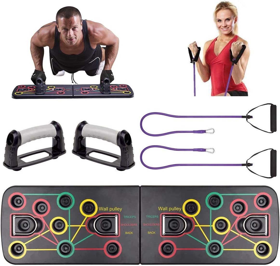Push Up Board System with Pull Rope,13 in 1 Body Building Exercise Tools Workout Push-up Stands,Multi-Function Portable Bracket Board Push Up Training System