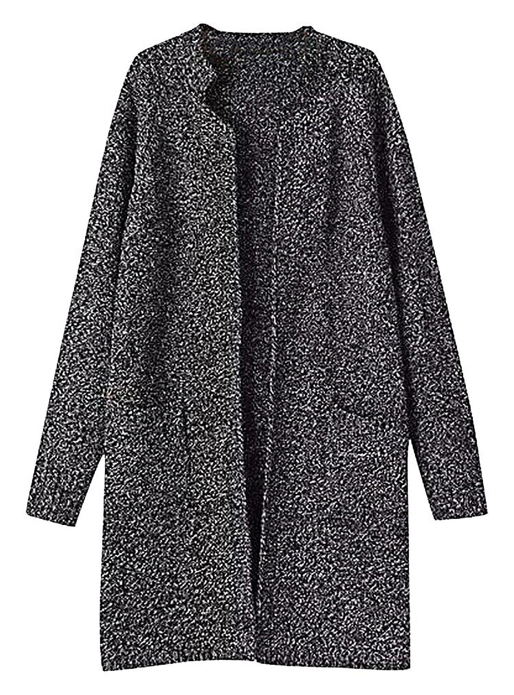 US&R Women's Open Front Wool Blend Grey Tone Knitted Cardigan Longline