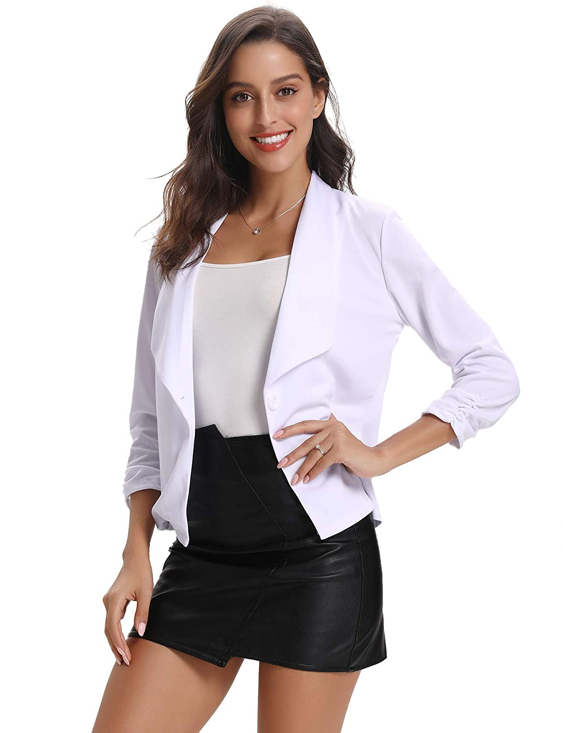 Abollria Women Blazer Casual Ruched 3/4 Sleeve Work Office Lightweight Open Front Jackets Blazer