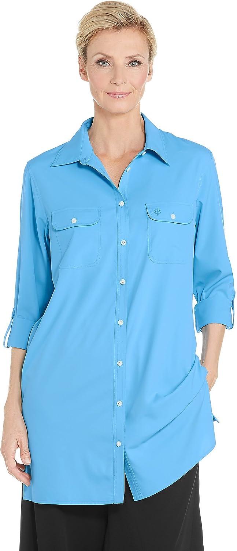 Royal Turquoise Coolibar UPF 50+ Women's Santorini Tunic Shirt  Sun Predective (Medium Ice bluee)