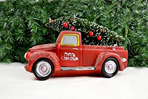 Clever Home Merry Christmas Red Truck with LED Lights Decorated Tree in Back - 10 inches
