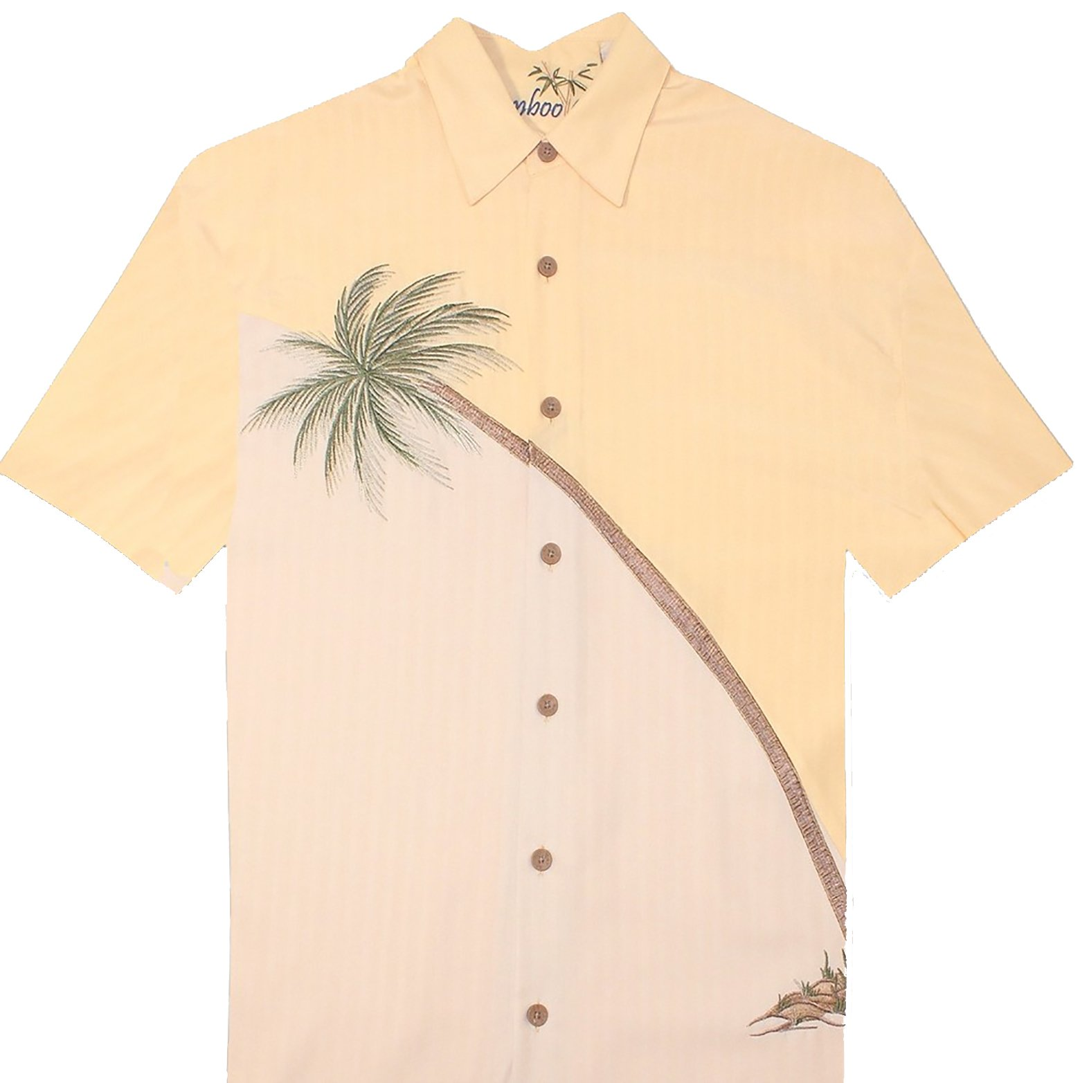 Bamboo Cay Men's Hurricane Palm, Embroidered Tropical Camp Shirt (XL, Banana)