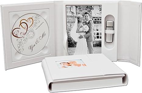 Boda de DVD/USB Case con foto caja. Piel sintética blanco ...