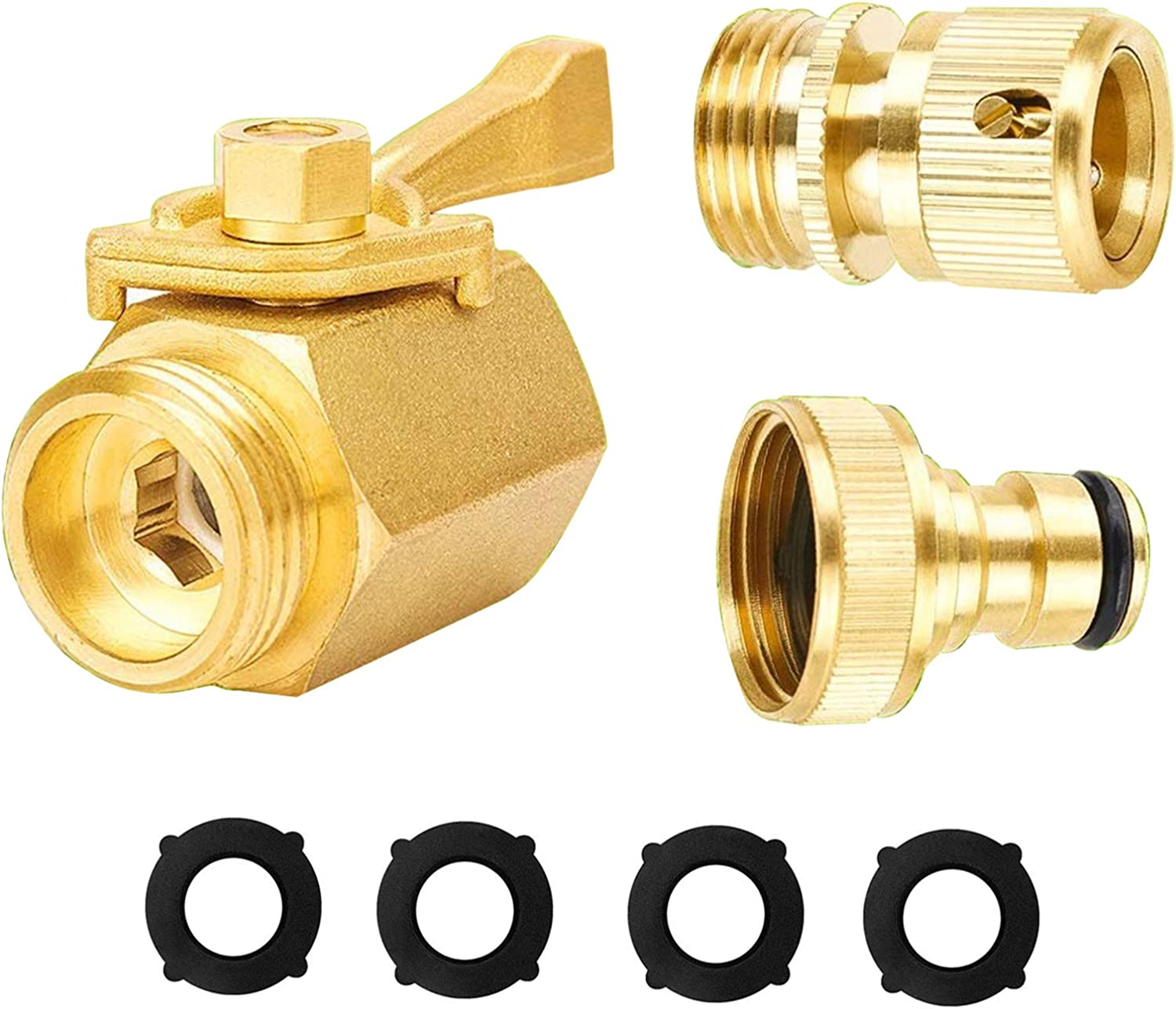 Heavy Duty 3/4 Inch Solid Brass Quick Connector and Shut Off kit. Garden Hose Quick Connect,with Brass Garden Hose Shut Off Valve