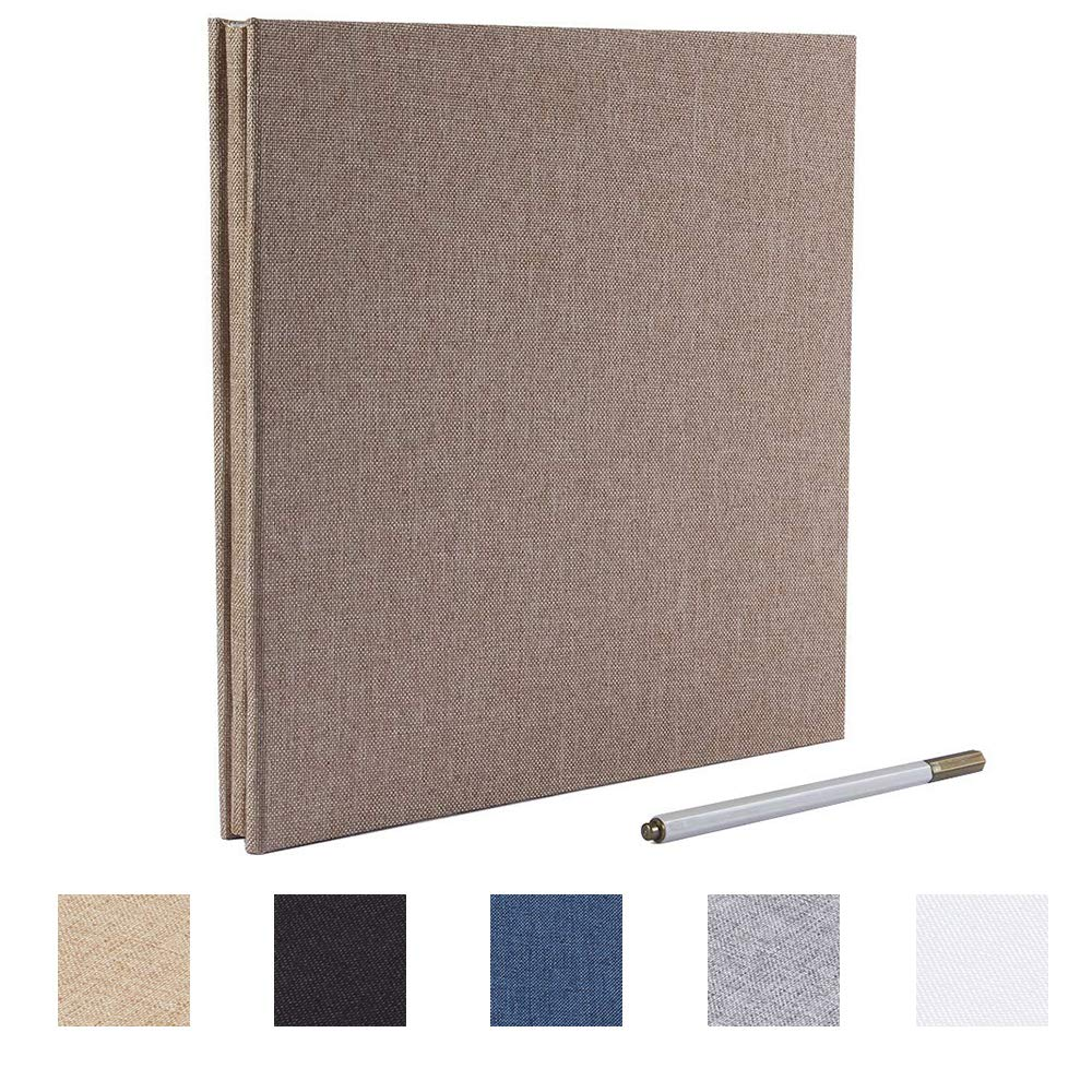 Self Adhesive Photo Album 13x12.6 inches Magnetic Scrapbook 40 Pages with a Metallic Pen Grey Linen, 13x12.6 inches