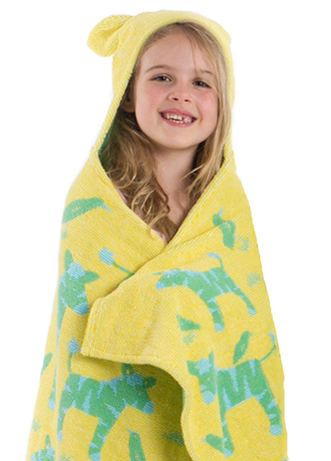 Breganwood Organics Kids Hooded Towel Yellow with Green Zebras, Thick, Soft & Absorbent with Jacquard Woven Design