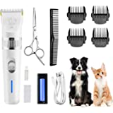 Dog Clippers,Low Noise Pet Clippers with Detachable Blades,Rechargeable Dog Trimmer Pet Grooming Kit with USB Cable…