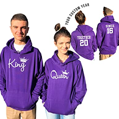 mla custom apparel king queen couple hoodies custom dates together