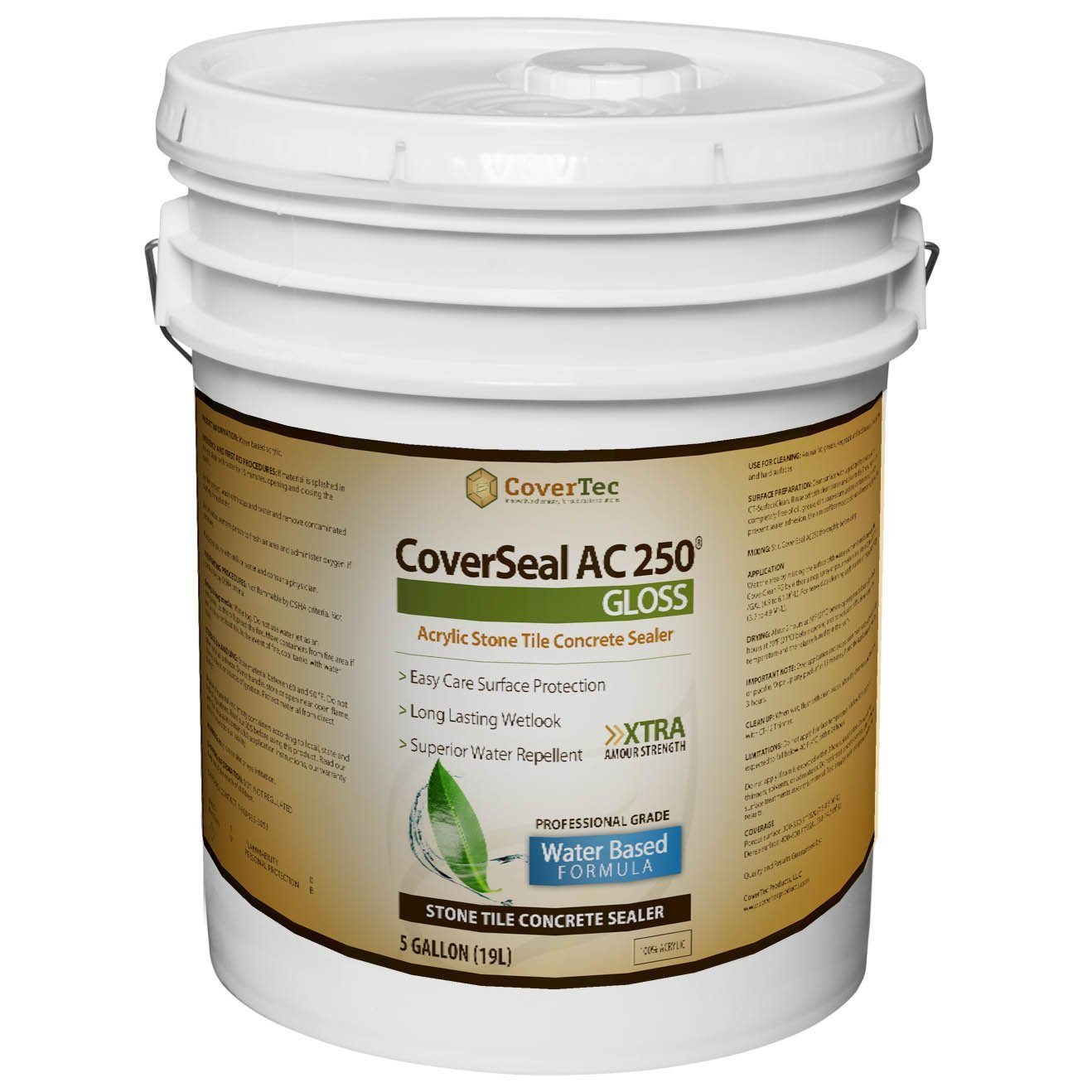 CoverSeal by CoverTec CSAC250GLS5GAL Gloss Wet Look Stone, Tile and Concrete Sealer, Water Based