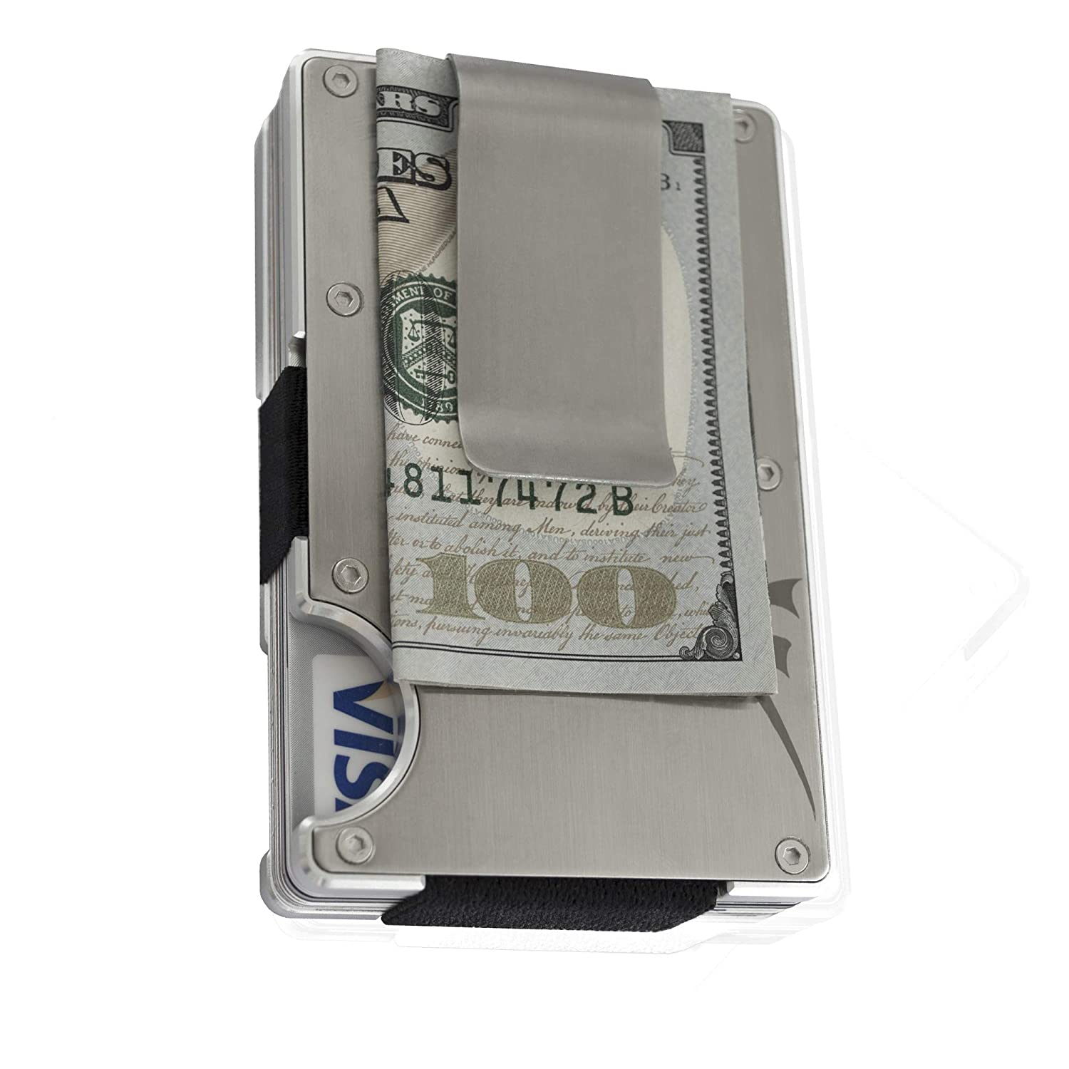 Aluminum Minimalist Money Clip Wallet + Stainless Steel RFID Blocking Front Pocket Slim Credit Card Holder By Martrams