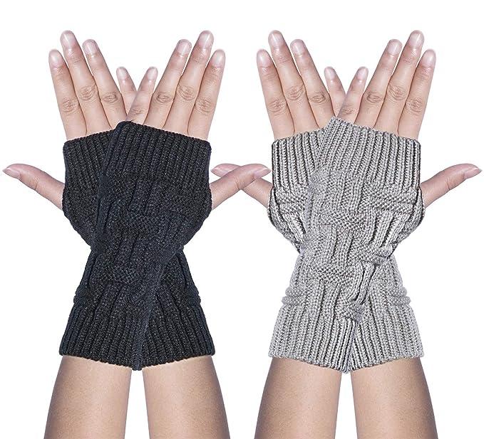 b5bc76aec22 Loritta 2 Packs Women Winter Warm Fingerless Gloves Crochet Thumbhole Knit  Wrist Warmers