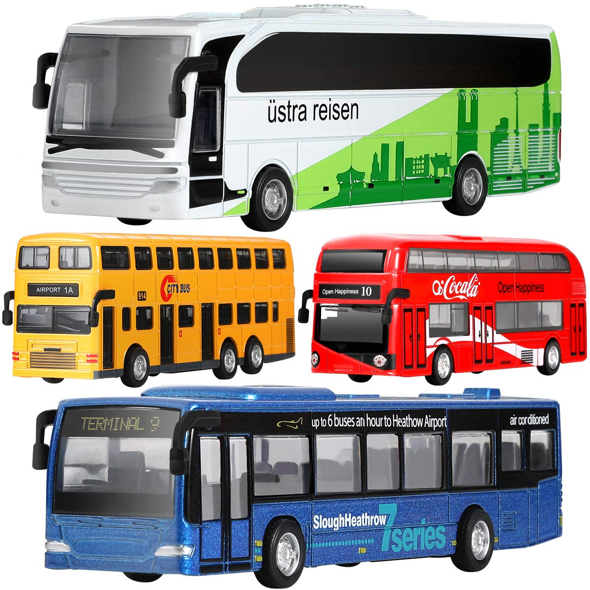 GEYIIE Bus Toys Set of 4, Kids Die-Cast Metal Toy Cars, Pull Back  Car City Bus Vehicles, Toys For Boys, Girls